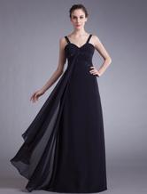 Vestido de baile preto A linha querida mangas correias frisado Formaldinner vestido vestidos de noiva