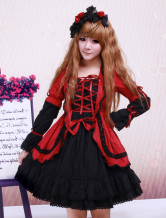 Lolitashow Red Black Cotton Lolita OP Dress Long Sleeves Lace Up Design Layers