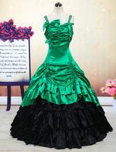 Carnevale Vestito da Lolita verde classico tradizionale smanicato multistrato con bretelle Halloween