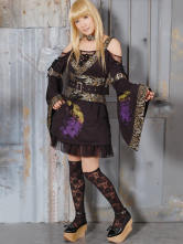 Lolitashow Punk  Purple Cotton Blend Long Sleeves Lolita Outfits