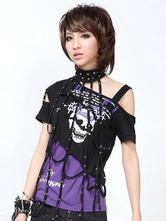 Camicetta Lolita viola e nera in cotone misto con maniche corte