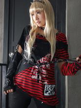 Lolitashow Red Stripe Pattern Cotton Blend Lolita Blouse