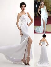 Vestito di Gossip Girl bianco elegante in satin attillato a terra