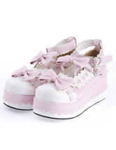 Lolitashow Sweet Lolita High Platform Lolita Shoes Bow Decor Ankle Straps with Trim