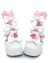 Lolitashow Sweet Chunky Heels Lolita Shoes Platform Bow Decor Round Toe
