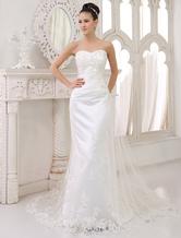 Brautkleider Liebsten Satin Spitze Applique Brautkleid Mantel Schatz Ausschnitt Sicke Brautkleid mit Zug