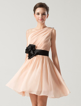 Peach Bridesmaid Dress One Shoulder Bow Sash Chiffon Short Wedding Party Dresses