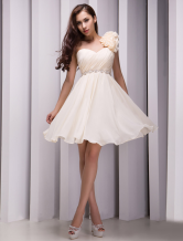 One-Shoulder Beading Chiffon Gold Champagne Grace Bridesmaid Dress