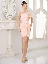 Blush Pink Peach Vestido de dama de honra Chiffon Beaded Cocktail Dress Um ombro Ruffled Bainha Short Party Dress Milanoo