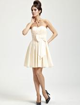 Gold Champagne Satin Bow Sweetheart Short Bridesmaid Dress