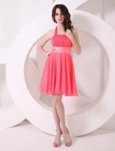Brautjungfernkleid aus Chiffon in Wassermelone-Rot