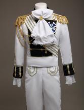 Disfraz Carnaval Traje de poliéster blanco para disfraz de reales europeos Halloween