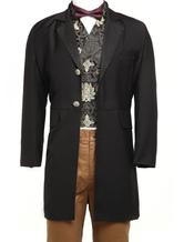 Anime Costumes AF-S2-67412 Men's Vintage Costume Rococo Black Coat Retro Overcoat