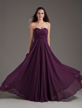 Bridesmaid Dresses2020 long chiffon strapless sweetheart neckline pleated plum maxi bridesmaid dress