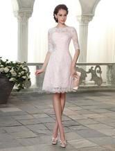 Kurzes Cocktailkleid mit Bateau-Kragen Kleider für Hochzeitsgäste Milanoo