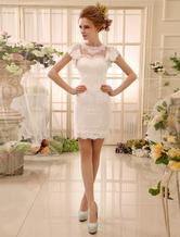 Vestido de novia  barato 2021 de encaje con escote redondo y manga mariposa Milanoo
