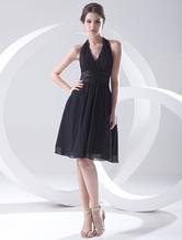 Black Cocktail Dress Knee-Length Halter Straps Sash Chiffon Dress
