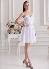 -Line Белый шифон Милая шеи короткое свадебное платье невесты