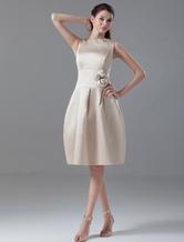 Champanhe a linha bonita do joelho-comprimento flor cetim vestido de Cocktail com pescoço de jóia