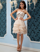 Champagne One-Shoulder Organza Cocktail Dress