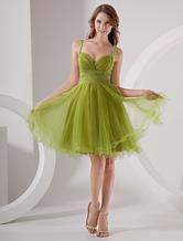 Зеленые колена тюль Homecoming платье с Beaed ремни и пояса