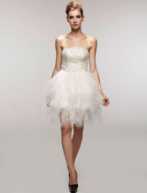 Magnificent White Gauze Strapless Beaded Mini Wedding Dress