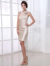 Vestido de Cocktail de champanhe com laço & flor detalhando Vestidos de Convidados para Casamento