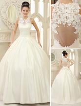 Chic robe mariage boule en satin ivoire avec dentelle col rond longueur plancher Milanoo