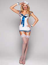 Anime Costumes AF-S2-365959 Halloween Cut Out White Spandex Woman's Sailor Costume Sexy Bow Decor Dress