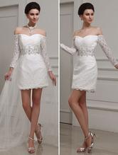 Ivory Sheath Bateau Neck Beading Lace Bridal Wedding Gown  Milanoo