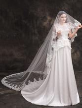 Laço branco do laço monista Applique poliéster casamento nupcial véu