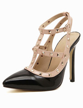 PU Leather T-Strap Pointed Toe Dress Sandals