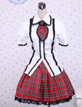 Cotton White Puff Short Sleeves Lolita Blouse And Checkered Classic Lolita Skirt