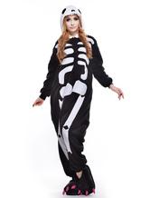 Traje de Kigurumi padrão esqueleto branco preto
