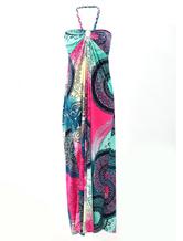 Grande boêmio Rayon impresso vestido Maxi