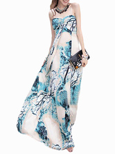 Sleeveless Rayon Painted Maxi Dress for Woman