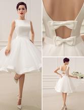 Short Wedding Dress Vintage Bridal Dress 1950's Bateau Sleeveless Reception Bridal Gown Milanoo