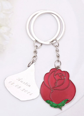 Metal Personalized 4-couple Rose Keychains for Wedding