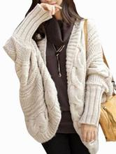 Women Cardgain White Casual Woven Acrylic Woman's Sweater