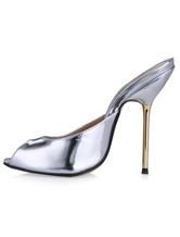 Trendige Peep Toe Pantoletten für Damen aus PU mit Pony Heels in Silber