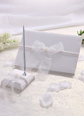 Classic Traditional Pearls Wedding Guest Book and Pens