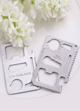 Multi-function Card Shape Tool Cutters with Leather Sheath Set of 4