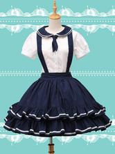Lolitashow Pure Cotton Straps Neck Lolita Skirt