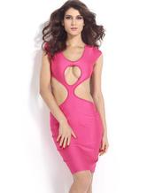 Womens Pink Crewneck mangas curtas poliéster clube Slim Backless Dress