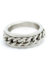 Chain Design Silver Stainless Steel Ring For Man