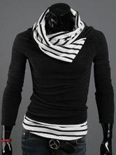 Men's Black Sweater Long  Sleeve Stripes Print Knitwear