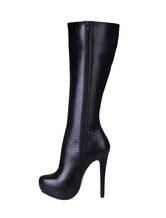 Women Black Knee High Boots Platform Round Toe Zip Up High Heel Boots