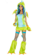 Anime Costumes AF-S2-377555 Halloween Light Green Dinosaur Cotton Blend Attractive Woman's Sexy Costume