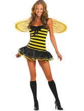 Anime Costumes AF-S2-12137 Halloween Yellow And Black Bee Sexy Costume