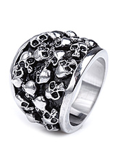Silver Skull Heads Stainless Steel Great Ring For Man